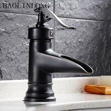 Black Antique Drawing Brass Bathroom Basin Faucet Vanity Vessel Sinks Mixer Single Bath Tap