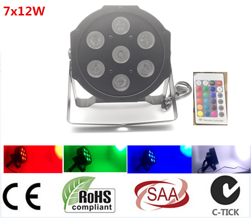Wireless Remote Control LED Par 7x12W RGBW 4IN1 LED Luxury DMX 8 Channels Led Flat Par LightsWireless Remote Control LED Par 7x12W RGBW 4IN1 LED Luxury DMX 8 Channels Led Flat Par Lights