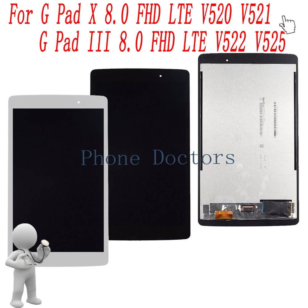 8.0 inch LCD DIsplay Touch Screen Digitizer Assembly For LG V525 G Pad III 8.0 FHD LTE / V525S1 / V525S3 / V520 G Pad X 8.0 FHD replacement lcd digitizer capacitive touch screen for lg vs980 f320 d801 d803 black