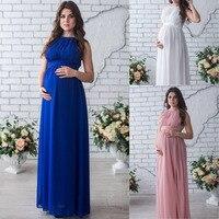 Nuevo 2017 moda maternidad fotografía Props vestido embarazo vestidos sin mangas mujeres Maxi fotografía princesa vestidos largos