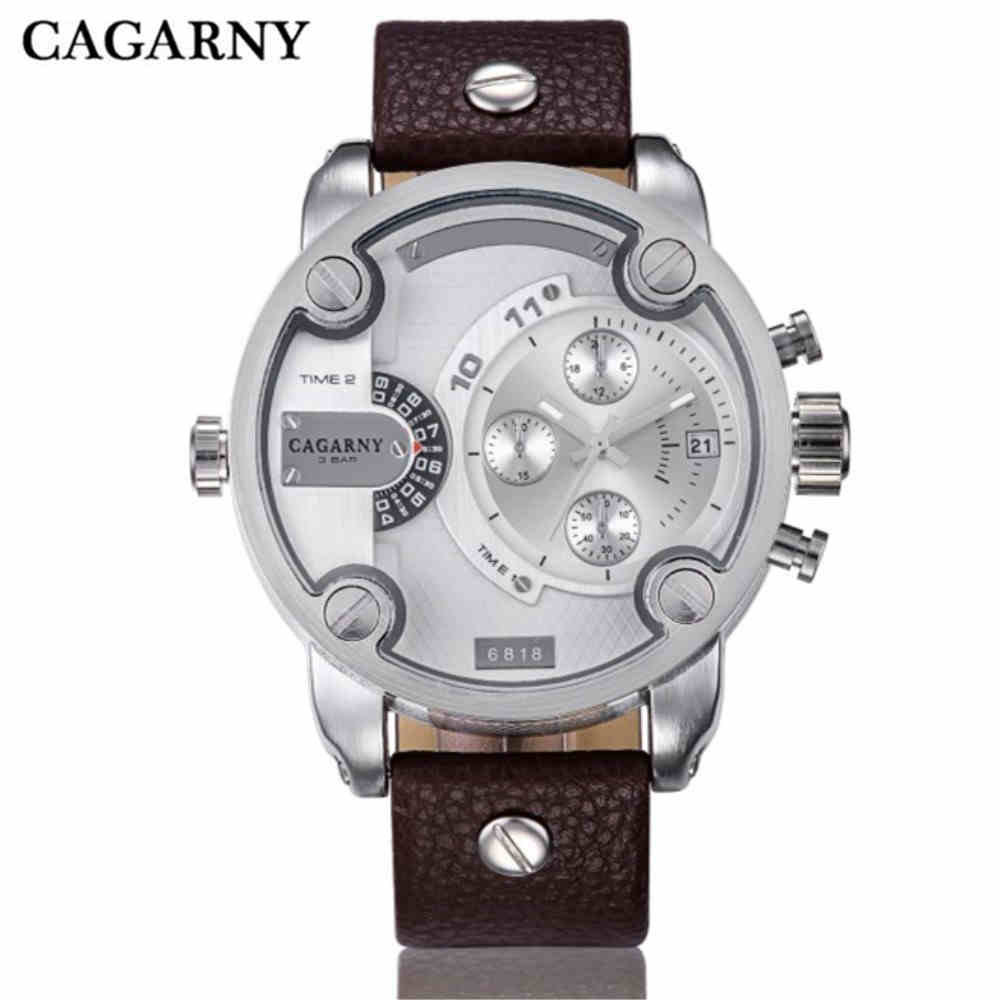 CAGARNY Quartz-Watch Men Casual Man Quartz Watches Sport Russian Army Military Watches Dual Time Zone Display Clock PENGNATATE