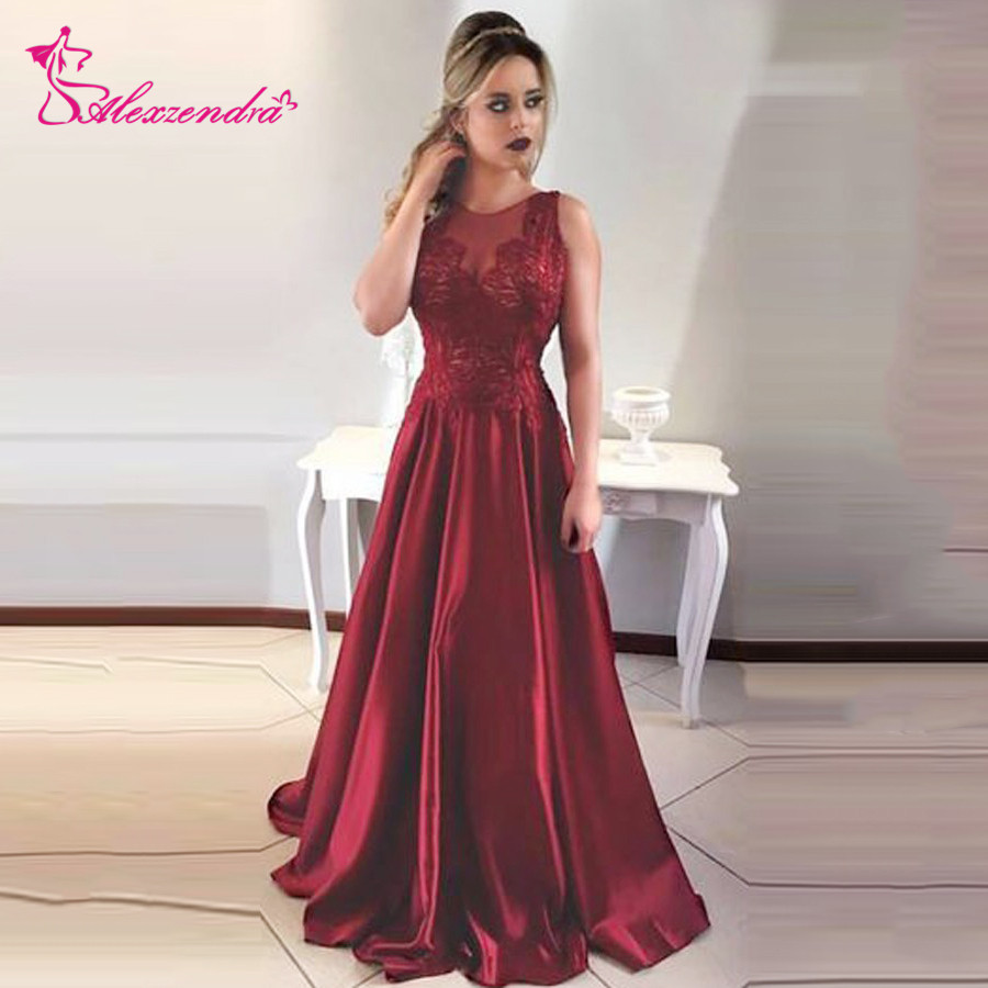 Alexzendra Burgundy Long A Line   Prom     Dresses   V Back Long Evening Party   Dresses   Customized