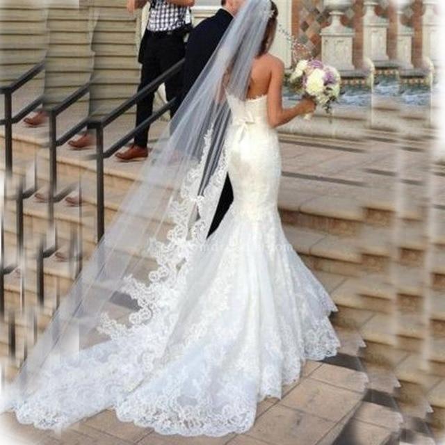 Elegant Lace Bridal Veil 2 Meters Chapel Train Applique Wedding Veil Romantic Wedding Accessories 2017 V91 for Elegant Women