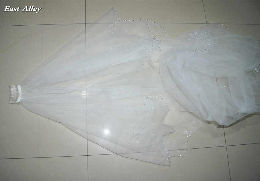 Двухслойная свадебная фата ручной работы, фата с расчёской для невесты, цвет слоновой кости/белый, с отделкой бисером и краем
