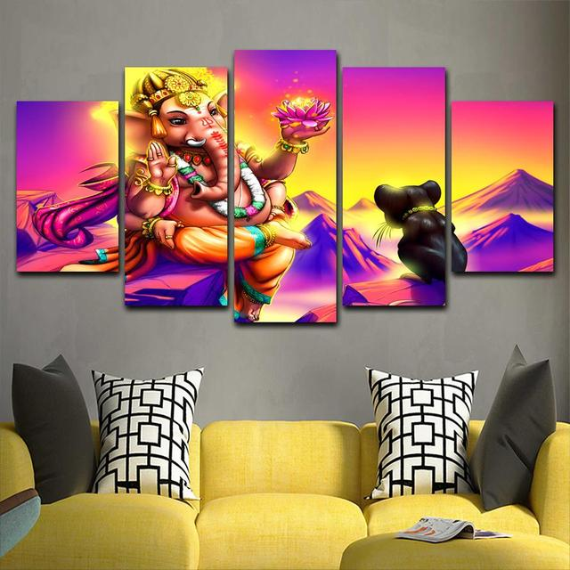 Us 12 0 50 Off 5 Panels Print Lord Ganesh Wall Art Painting Poster Modern Home Decor Canvas Prints Wall Art Picture Living Room Decor Pt1612 In