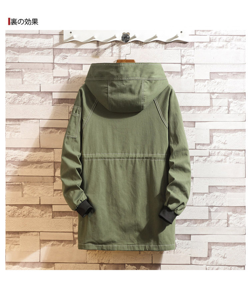 Army Green Trench Coat Men Korean Style Fashion Clothing Male Hooded Trench Coat Jacket   (17)