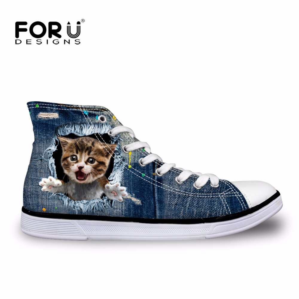 FORUDESIGNS Fashion Women High Top Vulcanize Shoes Vintage Denim Pet Cat Dog Printed Classic Lace Up Female Casual Canvas Shoes
