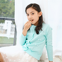 Winter Girl Sweater Cardigan Top New Cute Spring Autumn Cotton Knitting Pullover Fashion Bow Design Girls