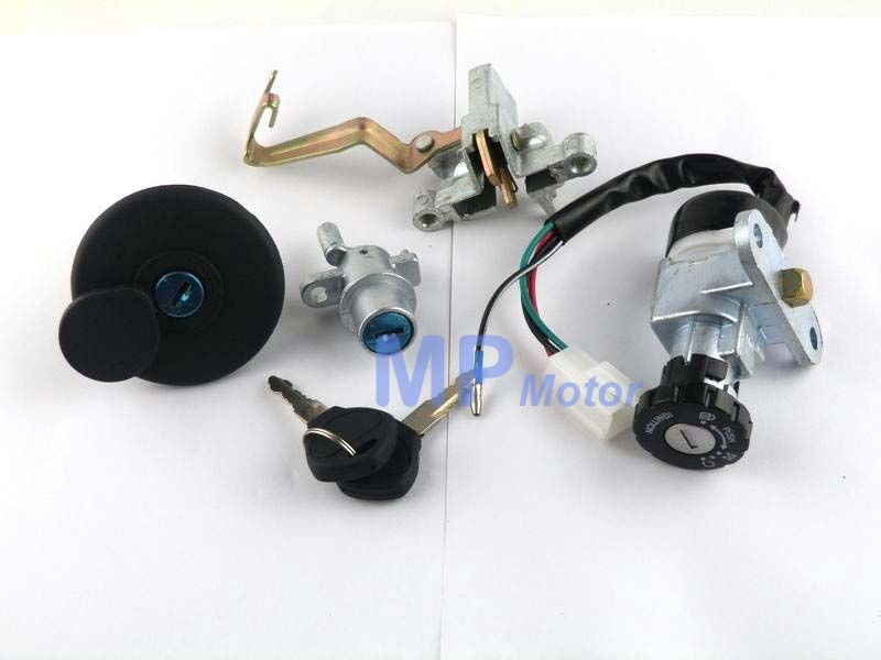 Key Switch & Lock Set With Locking Gas Cap For Lance Charming Tank Classic 50CC Retro Style Scooter Moped 4 Wire