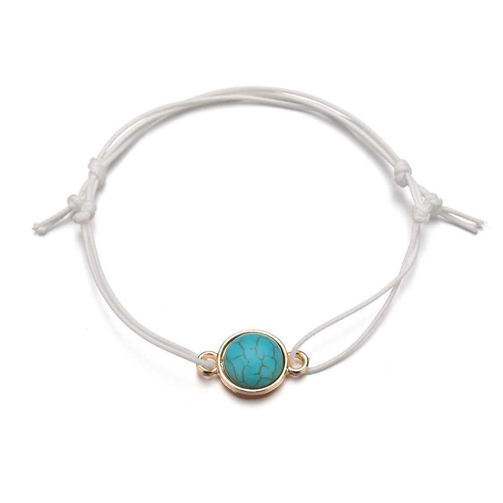 2019 szczęście srebrny złoty zielony kamień czarny łańcuch bransoletka dla kobiet mężczyzn dzieci regulowana lina pleciona bransoletka mama córka prezent