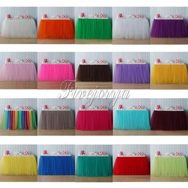 22 Colors Tulle Tutu Table Skirt Tulle Tableware for Wedding Decoration Baby Shower Party Wedding Table