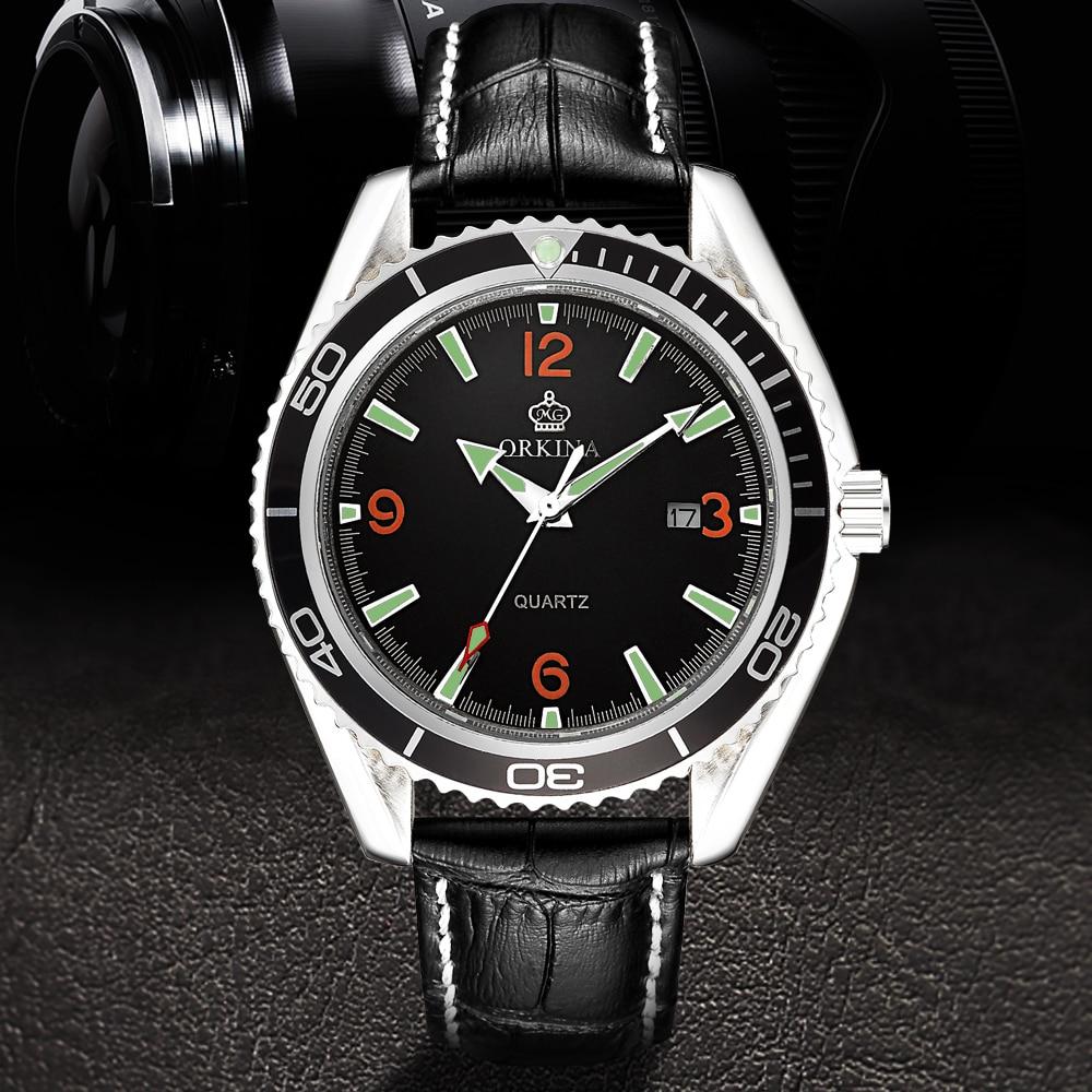 Cool Orange Numbers ORKINA Genuine Leather Women Wristwatch Gear Case Date Quartz Watch Female Sports Casual Clock