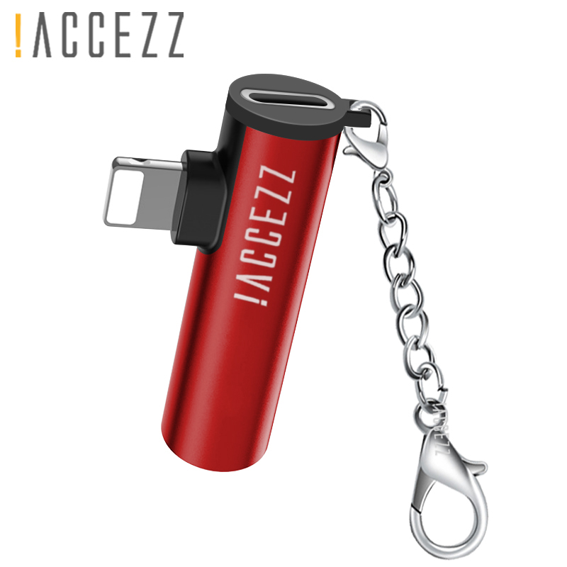 !ACCEZZ <font><b>For</b></font> <font><b>iphone</b></font> AUX Adapter Earphone <font><b>For</b></font> <font><b>iphone</b></font> 8 7 Plus <font><b>X</b></font> XS MAX XR IOS 12 Charging 3.5mm <font><b>Headphones</b></font> <font><b>Connector</b></font> With Keychain image