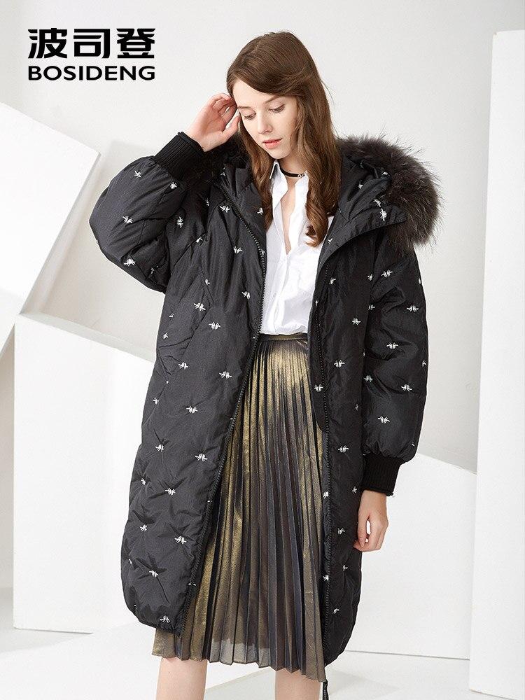 BOSIDENG winter goose down coat X-Long women down parka hooded natural fur collar loose thicken outwear B70145240