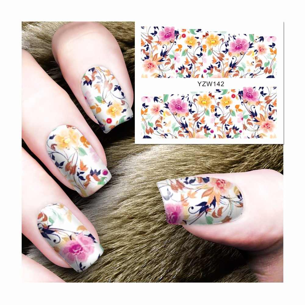 ZKO 1 Sheet Blooming Flower Designs Nail Sticker Water Decals Nail Art Water Transfer Stickers For Nails 142