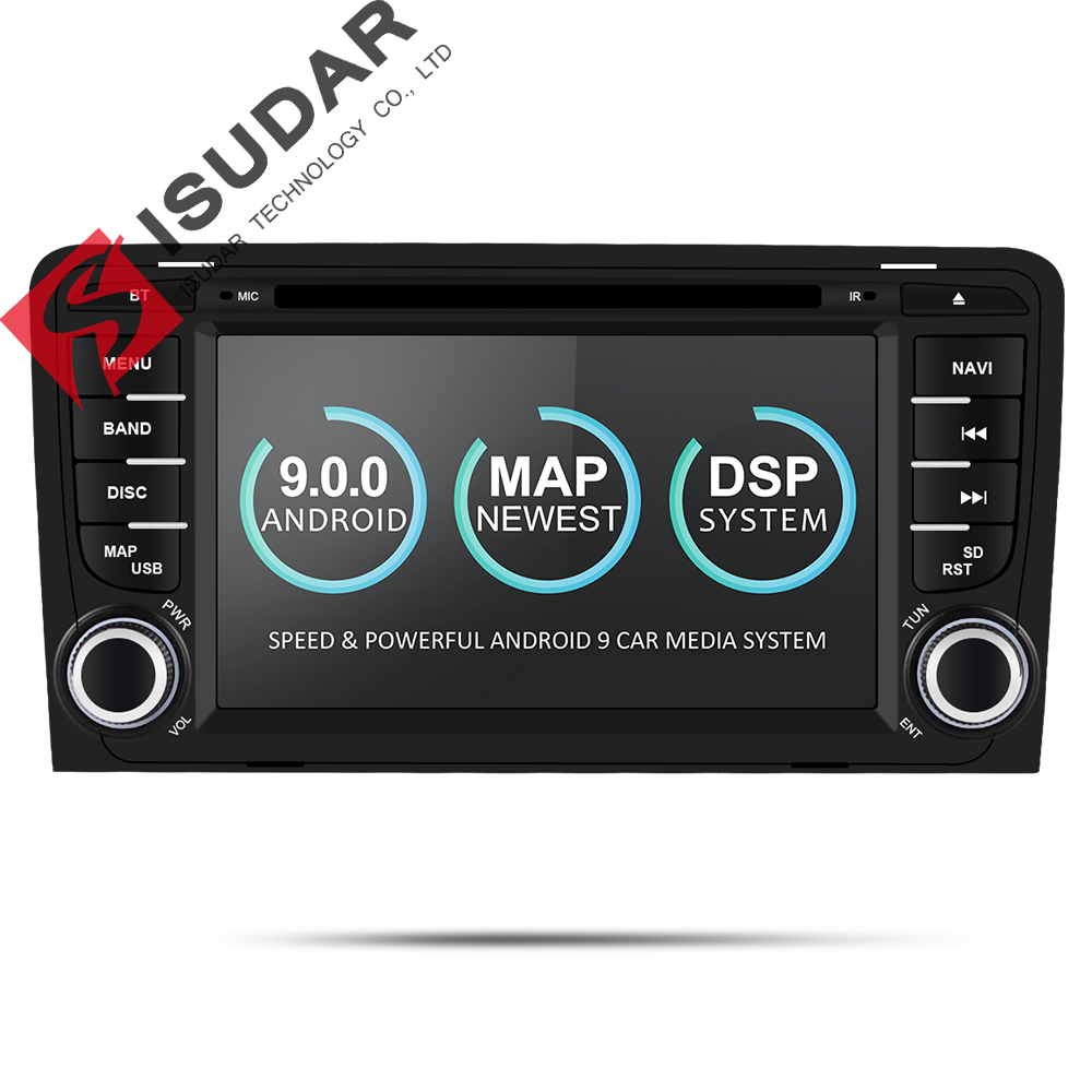 Isudar 2 Din Car Multimedia Player GPS Android 9 DVD Automotivo Radio For Audi A3 8P/A3 8P1 3-door Hatchback/S3 8P/RS3 Sportback