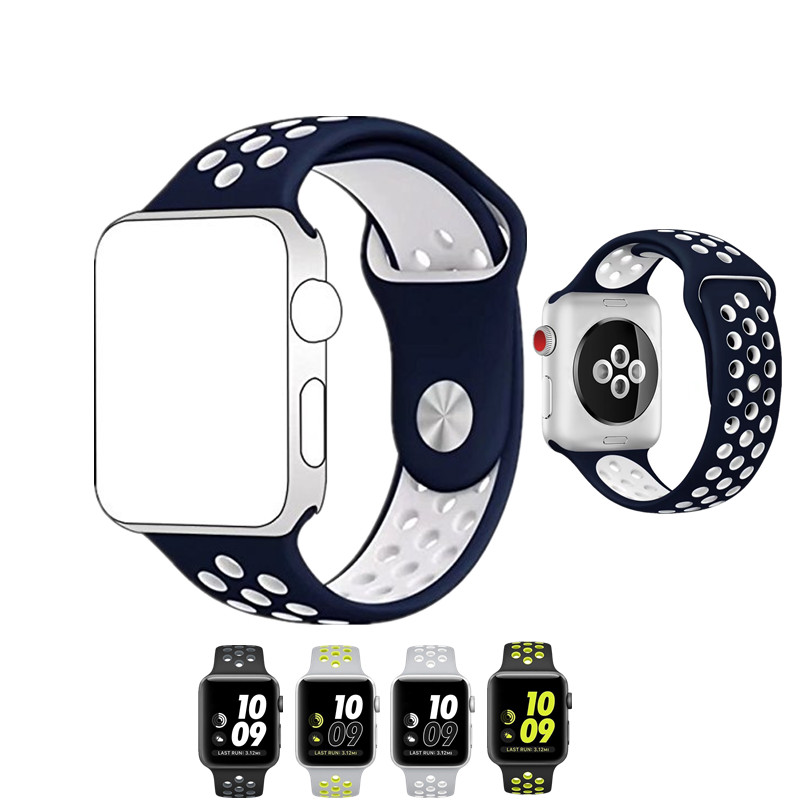 ASHEI Soft Silicone for Apple Watch Nike Series 4/3/2 42mm 38mm Official Double Color Bracelet Strap Watchstrap for iWatch bands 2 day pass let s rock festival 2017 seoul