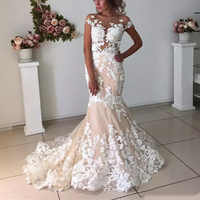 Champagne Mermaid Wedding Dresses Long Backless 2020 Robe de mariee Vintage Lace Floral Applique Bridal Gown with Sleeves Formal