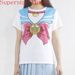 New sailor moon anime chibimoon harajuku kawaii girl s fake print cosplay t shirt woman tops.jpg 250x250