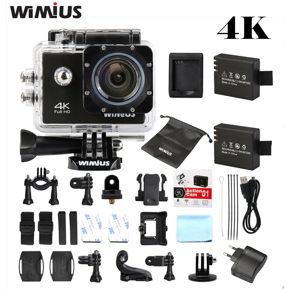 """Wimius 4K Sports Action Camera WiFi Full HD 1080P 60fps 2\""""LCD Go"""
