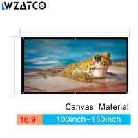 Pantalla de proyección WZATCO 100 pulgadas/120 pulgadas/150 pulgadas 16:9 pantalla de proyección de lona de película plegable HD pantalla de proyección para SONY BenQ DLP proyector LED