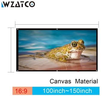 Pantalla de proyección WZATCO 100 pulgadas/120 pulgadas/150 pulgadas 169 pantalla de proyección de lona de película plegable HD pantalla de proyección para SONY BenQ DLP proyector LED