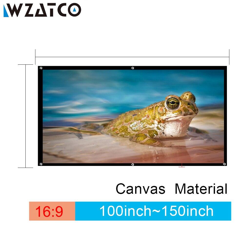 WZATCO 100 inç/120 inç/150 inç 169 projeksiyon ekranı tuval film katlanabilir HD projeksiyon ekran için benQ DLP LED projektör