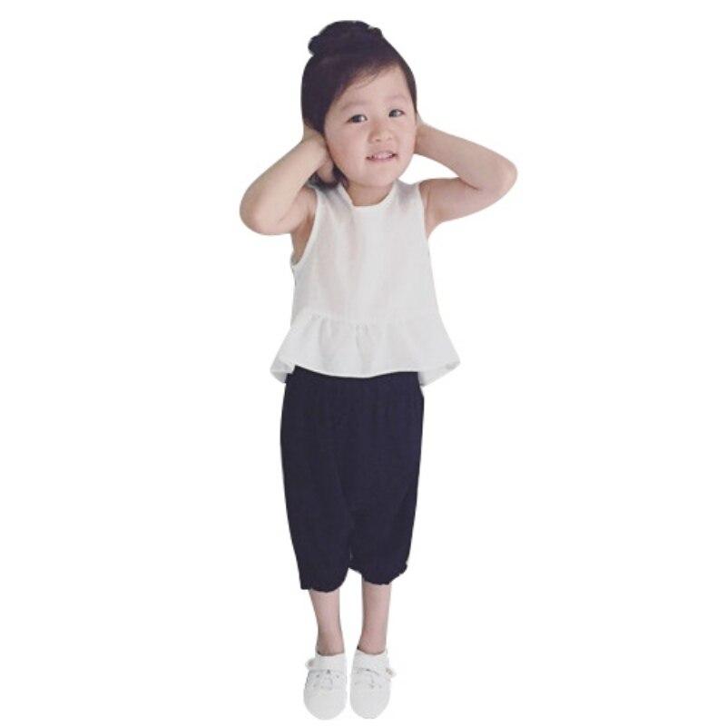 Комплекты летней одежды для девочек костюм для малышей Дети без рукавов Футболка + штаны roupas infantil детские одежда для девочек