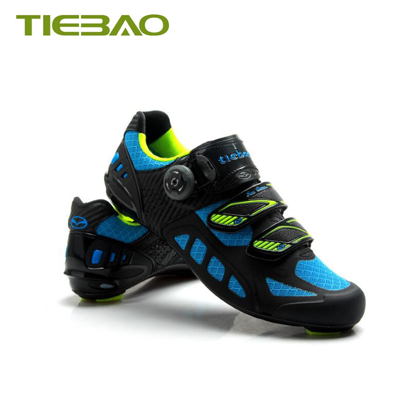 Купить с кэшбэком Tiebao 2019 road carbon fiber cycling shoes air mesh breathable self-locking Ultralight bicycle pedals Athletic cycling sneakers