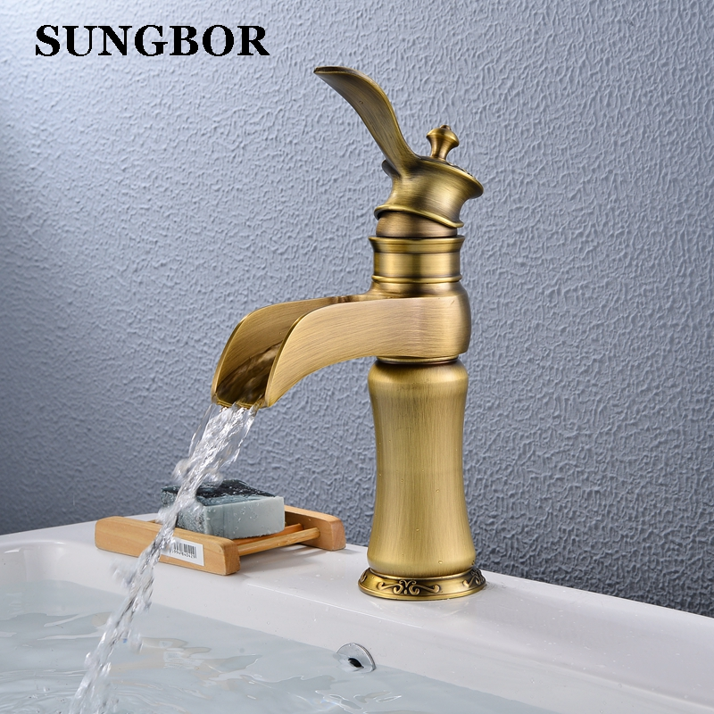 Antique Basin Bathroom Faucet Bronze Finish Brass Hot and Cold Faucet Single Handle Single Hole Water Sink Mixer Taps AL-99034A free shipping bronze polished bathroom faucet mixer tap basin sink cold and hot water taps flower carved single handle jp275
