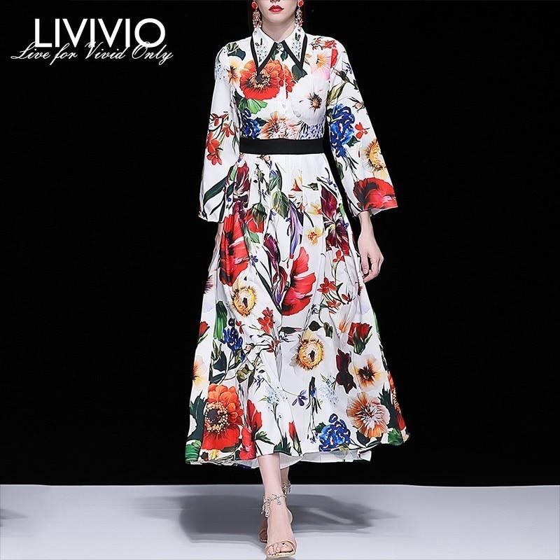 LIVIVIO Print Dresses Female Lapel Collar Beading Long Sleeve High Waist Long Dress Women Elegant