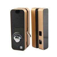 Office glass door smart lock keyless electric fingerprint lock with touch keyboard password smart card remote control key