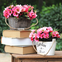 1 Set Chrysanthemum Gerbera Wall Hanging Wooden Keg Artificial Flowers Wedding Home Shop Decorative Fake Flower 4 Color