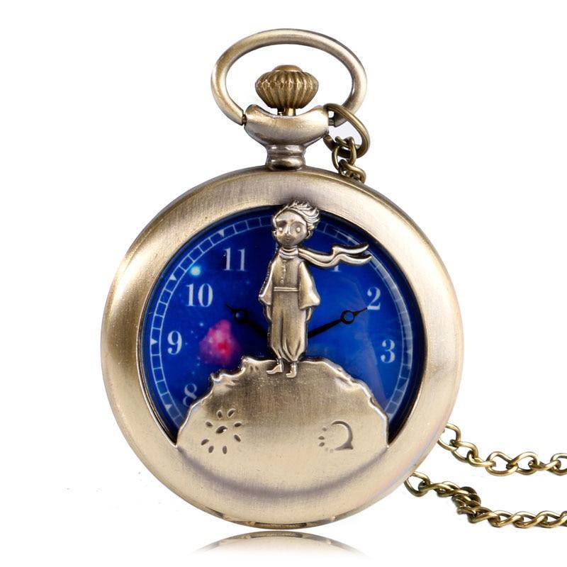 Little Prince Blue Planet Designer Child Kid Carving Half Hunter Quartz Pocket Watch Analog Pendant Necklace Piccolo Principe