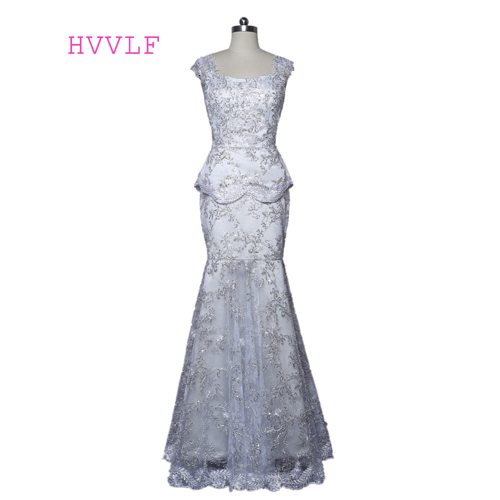 Silver Mother Of The Bride Dresses Mermaid Cap Sleeves Lace Sequins Groom Mother Dresses Long Evening Dresses For Weddings