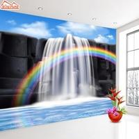 ShineHome-Arcobaleno Cascata Flusso D'acqua Foto Sfondi Natura Contatto Camera Da Letto Carta Da parati 3d Paesaggio Per Camera Casa All'ingrosso
