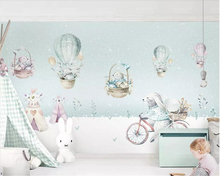 Beibehang Custom 3d wallpaper mural Cycling bunny animal hot air balloon Nordic children's room wall wallpapers for living room beibehang custom wallpaper mural 3d blue flower hotel living room wall 3d wallpaper wall sticker wallpapers for living room