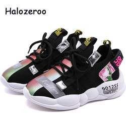 Nowy 2019 jesień dzieci sportowe trampki dziewczynek trampki dzieci buty z siatką chłopców buty markowe czarne miękkie trampki trener