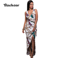 Yizekoar 2017 Chic Chain Print High Split Maxi Dress Women Knitted V Neck Pencil Bodycon Dress
