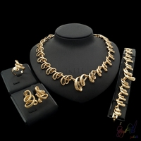 2017 hotsale latest gold color rhinestone jewellery sets American artificial pattern wholesale jewellery sets