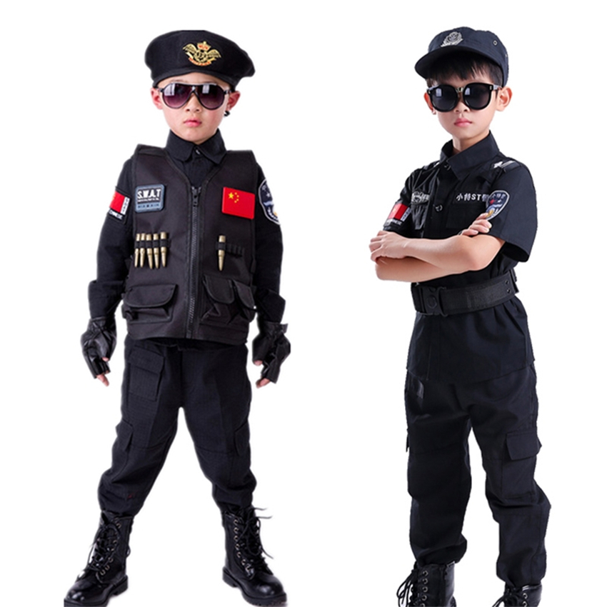 Boy's Police Cosplay Uniform Children Army Military Clothing Set Special Policemen Carnival Festival Costumes for Kids