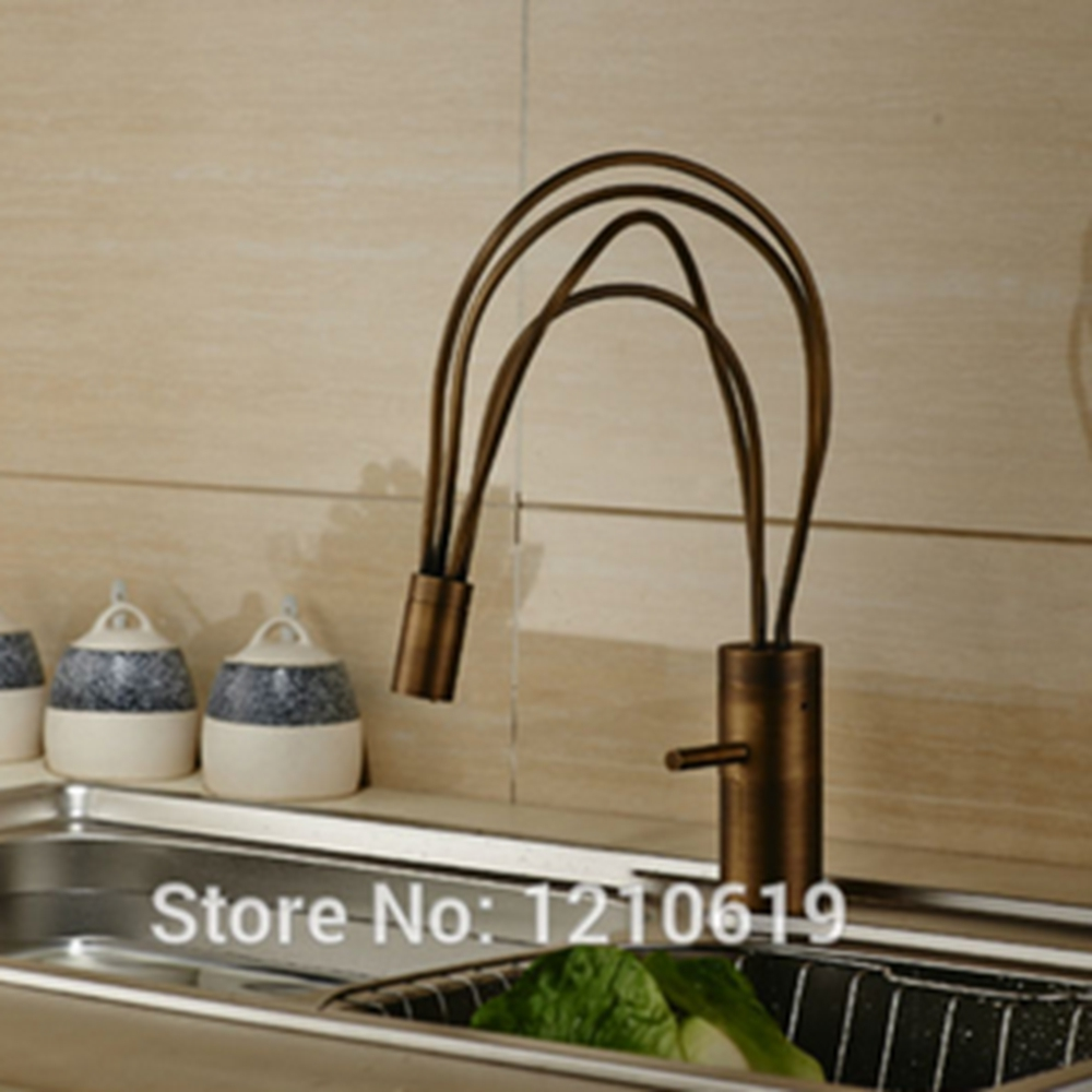 ФОТО Newly US Free Shipping Bird Nest Bathroom Basin Faucet Antique Brass Sink Mixer Tap Single Handle Deck Mounted