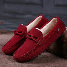 New Slip On Winter Men Loafers Genuine Leather Driving Low Man Fashion Casual Mocassins Flats Warm Plush Zapatos Oxford Shoes