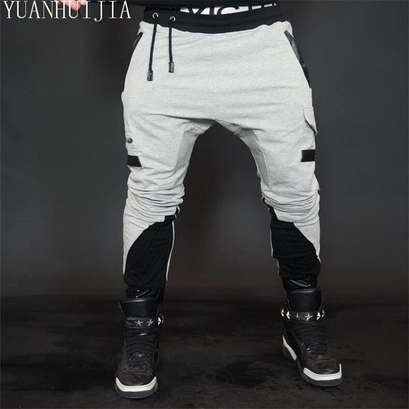 High Quality Mens Harem Joggers Sweatpants Elastic Cuff Drop Crotch Drawstring Biker Joggers Pants For Men Black gray ...