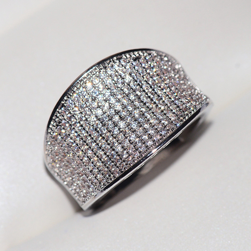 high quality Trendy Big Charming for Women Ring Zircon Paved Smoothly Real Luxury Crystal Finger Ring for Party(China)