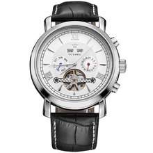 OUYAWEI メンズ腕時計トップブランドの高級フルカレンダーフライホイールダイヤル自動機械式腕時計革ベルト Armbanduhr