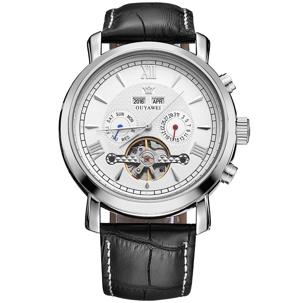 OUYAWEI Mens Watches Top Brand Luxury Full Calendar Flywheel Dial Automatic Mechanical Wrist Watch Leather Belt Armbanduhr wholesale full silvery see through square dial automatic real leather mens wrist watch new page 4