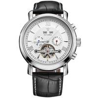 OUYAWEI Mens Watches Top Brand Luxury Full Calendar Flywheel Dial Automatic Mechanical Wrist Watch Leather Belt Armbanduhr