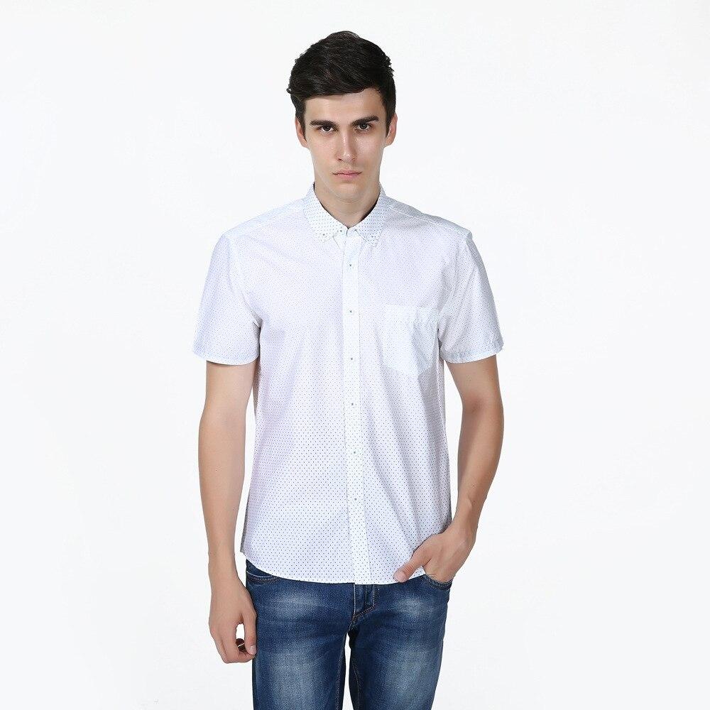 New Slim Fit Argyle Dot White Cotton Casual font b Shirt b font font b Men