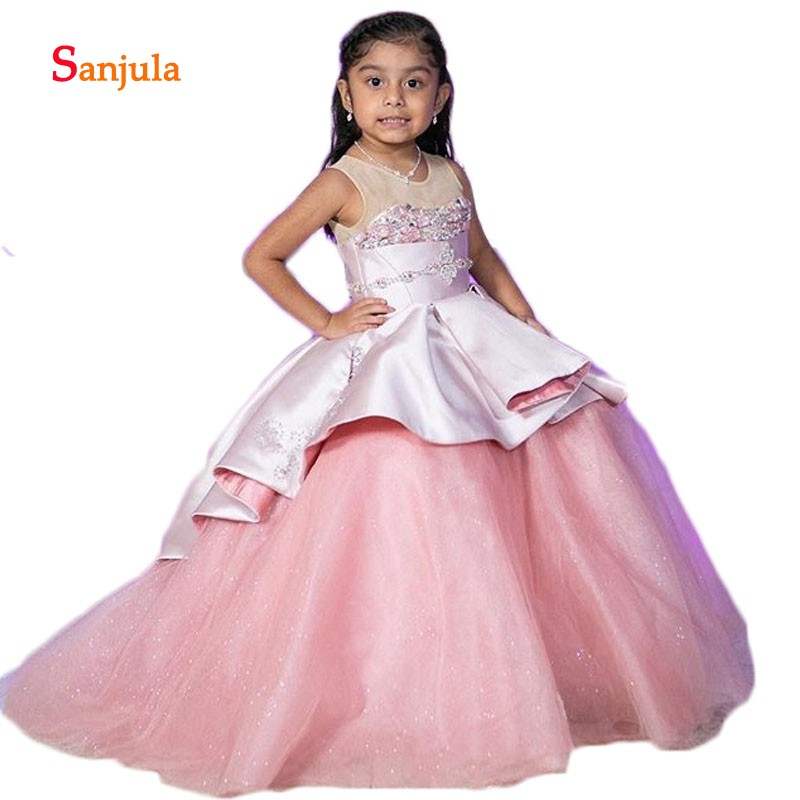 Pink Satin Puffy Ball Gonw   Flower     Girls     Dresses   2019 Sheer Top Beaded Appliques Charming   Girls   Pageant Party   Dresses   D218